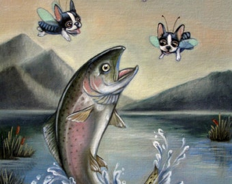 Boston Terrier Trout Fly fishing Print