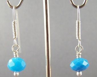 Turquoise Faceted Glass Dangle Earrings