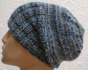 Watch cap, slouchy hat, beanie hat, denim blue grey charcoal green taupe, tweed hat, ski skateboard , knit toque, wool hat, mens womens hat