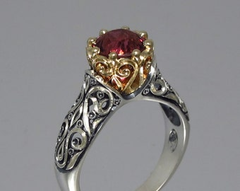 size 9 Ready to ship The ENCHANTED PRINCESS Tourmaline engagement ring in silver & 14k gold