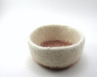 Wool felted bowl - wool bowl - cream and sesame