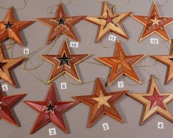 Natuarlly Colored hardwood Star Christmas Ornaments