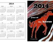 Handy gift card calendar, 2014 Year of the Horse scratchboard art