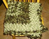 "Marble Effect Crochet Lap Throw/Baby Blanket, Approx. 36"" Square"