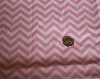 Chevron - David Textiles Fabric - One yard - Pink on white