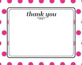 Custom Order for Shannon Brown Hot Pink Dot Thank You Card  - Set of 25