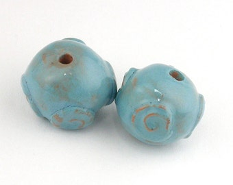 Turquoise beads, blue beads, aqua beads, stoneware beads, ceramic beads, Spiral Beads, unique beads, artist beads, pair of beads, bead set