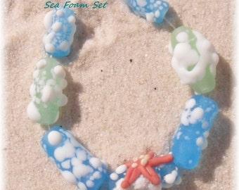 Lampwork Beads Set, Etched Sea Foam Aqua Green  Artisan Handmade SRA LETEAM Glassymom