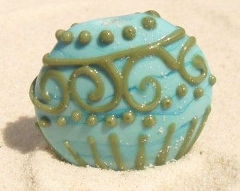 Lampwork Turquoise Green Lined Focal, Artisan Handmade SRA LETEAM Glassymom