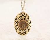 Monogram Locket, Letter Locket, Initial Locket, Choose Your Letter - Antiqued Brass