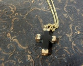 Antique Edwardian Jet Gold Capped Cross Pendant Black Mourning