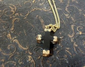 Antique Edwardian Jet Gold Capped Cross Pendant Black Mourning