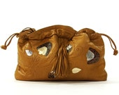 SOFT Leather Clutch Bag or Convertible Drawstring Purse / Vintage 1980s Butter Soft Honey Brown Leather Purse with Optional Shoulder Strap