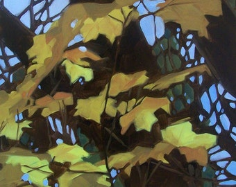 GOLDEN LEAVES 2 oil landscape with yellow leaves and sky