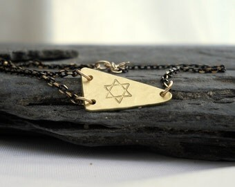 Star of David Bracelet // Geometric Jewelry // Black Gold // Unique Gift for HER under 30 // Spiritual Jewelry