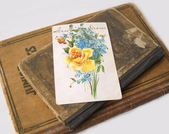 Antique Postcard Greetings From Cherry Valley, NY, Embossed Flowers, 1907, Paper Ephemera