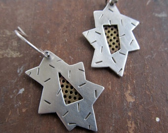 Silver Dangling Earrings Mixed metal Starburst funky Asymmetrical Bold Steampunk stamped silver Earrings