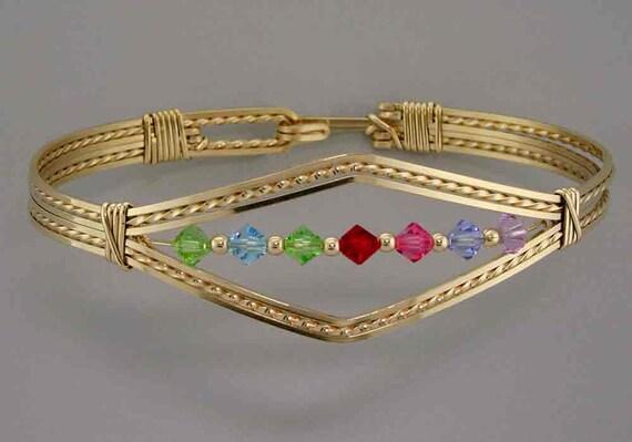 Family Bracelet, 12 Karat Gold Wire, Sizeable, Mother's Day, Grandmothers Bracelet, Personalized Birthstone Bracelet, Moms Jewelry, Custom