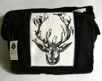 Deer & Birds Messenger Bag, Screen Printed Cotton Canvas,  School Bag, Nature Lover Cross Body Bag, Gift for Men, Gift for Women
