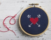 heart and arrows do-it-yourself cross-stitch kit