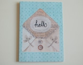 Hello - greeting card digital print of hand-embroidered writing on envelope