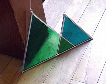 Glass Triangle Mountains, Art Deco Mountain Range, Stained Glass Triangle Mountains, Unique Home Decor