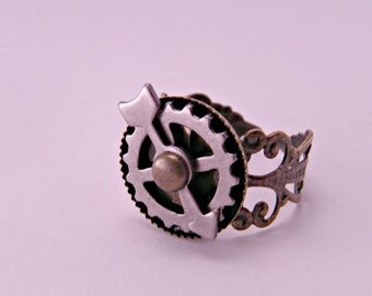 Steampunk Industrial Brass Filigree Adjustable Watch Part Spinner Ring