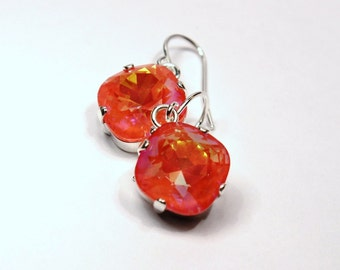 Bright Orange Crystal Dangle Earrings Classic Sparkling Tangerine Solitaire Swarovski 12mm or 10mm Drop Sterling Silver Gold Women's Jewelry