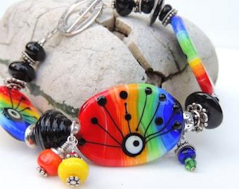 BELIEVE in PEACE Handmade Lampwork Bead Bracelet