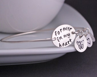 Memorial Jewelry, Forever in My Heart, Remembrance Bracelet, Personalized Memorial Jewelry