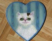 White persian cat portrait on wood, original NOT a print HEART