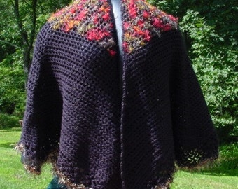 Black Cape With Shag Multi Colored Yoke - Handmade Crochet - Winter Fall Accessory