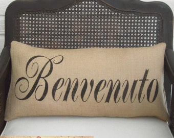 Welcome in any Language -  Burlap Pillow - Personalize with the language of your choice - Custom Welcome  Pillow Lumbar Style