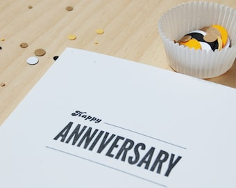 Happy Anniversary for font lovers, letterpress card, typography