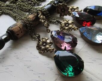 """pendant necklace, custom necklace, long necklace, art nouveau necklace, downtown Abbey Downton necklace, layering. """"Simple Beauty"""""""