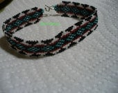 South Western style square stitched beaded bracelet
