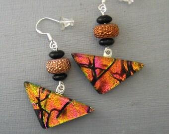 Copper and Pink Glass Earrings, Triangular Swing Earrings, Fused Glass Earrings, Dichroic Fused Glass Drop Earrings