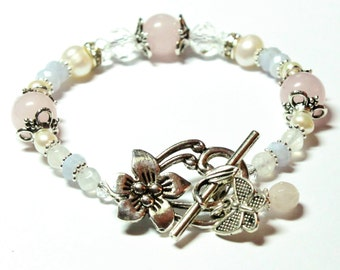 GAIA Miscarriage and Loss Bracelet  - Blue Lace Agate, Rose Quartz, Moonstone, Pearls, Crystals