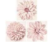 Dahlia Art Set, Floral Wall Art, Pink Artwork, Flower Wall Art, Minimalist Art, Pale Pink, Dahlia, Nursery Gallery Wall Art Set