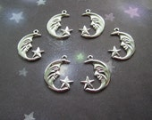 Moon and Stars Celestial Silver Tone Jewelry Charms/Mixed Media Art/Crazy Quilt on Etsy x 3 Pair