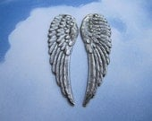 Angel Wing Pair Antique Silver Tone LARGE Jewelry Charms/Earrings/Pendant on Etsy x 1 Pair
