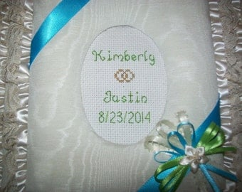 Custom Personalized Ivory Moire Fabric Wedding Album / Scrapbook