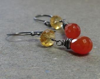Orange Carnelian Earrings Yellow Citrine Earrings Oxidized Sterling Silver Earrings