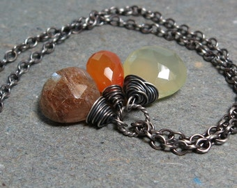 Carnelian Necklace Orange, Green Gemstone Necklace Rutilated Quartz Necklace Chalcedony Necklace Oxidized Sterling Silver Necklace