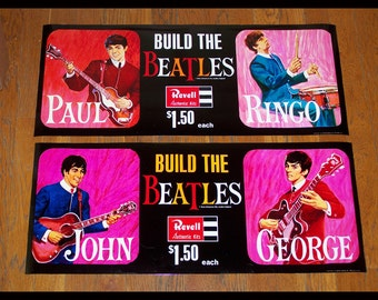 """1964 REVELL BEATLES BANNERS reproductions or rare advertising for the 4 Beatles model kits,  26"""" x 10.75"""" , beautifully reproduced"""