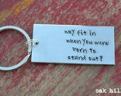 hand stamped aluminum keychain-great graduation gift-dr seuss