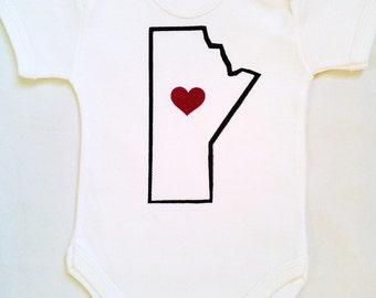 Baby onesie. Manitoba outline with heart. Silk screened childrens sleeper.