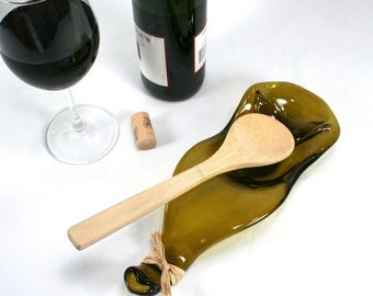 Gold Wine Bottle Wave Serving Bowl - Standard Size Spoon Rest - Recycled Eco-Friendly