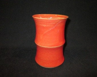 SALE bamboo look vase in glossy red, stoneware pottery