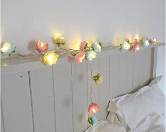 Rose Fairy Lights in Pale Blue, Pink and Parchment, Rambling Rose Lights String Garland Flower Lights